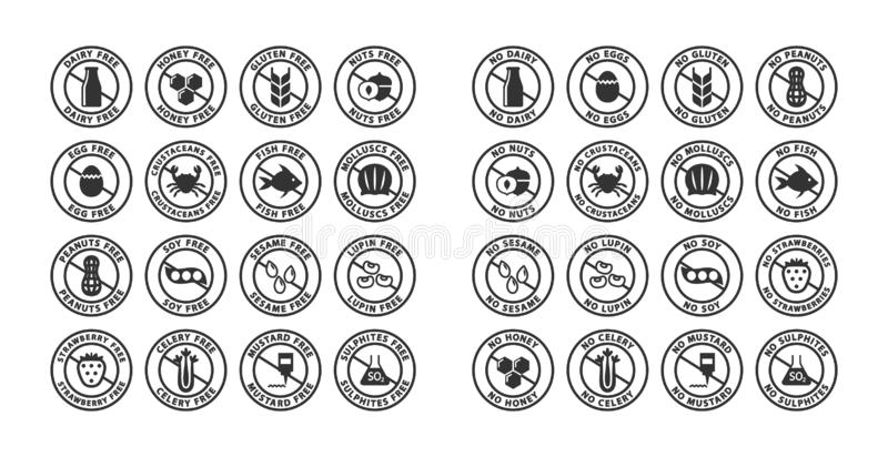 Food ingredients allergens black stamp label set. Allergens free, no allergent vector labels. Gluten free, dairy free, peanut free label stickers royalty free illustration