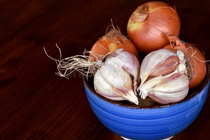 Food ingredients dark background with Allium sativum bulbs royalty free stock image