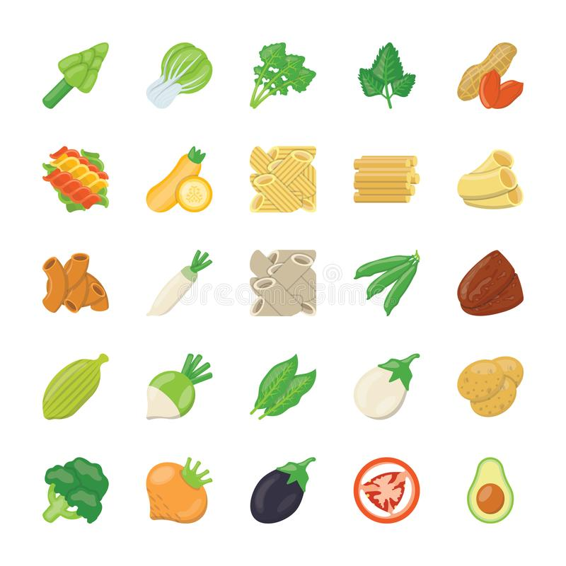Food Ingredients Icons. The food ingredients pack is offering yummiest icons of food elements relating to cookeries, restaurants, or any kind of food business royalty free illustration