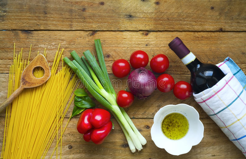 Food ingredients for italian spaghetti royalty free stock photography