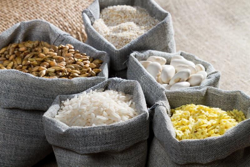 Food Ingredients In Linen Bags Royalty Free Stock Image