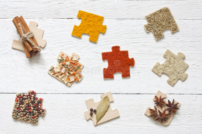 Food ingredients spices and puzzle diet concept stock photo