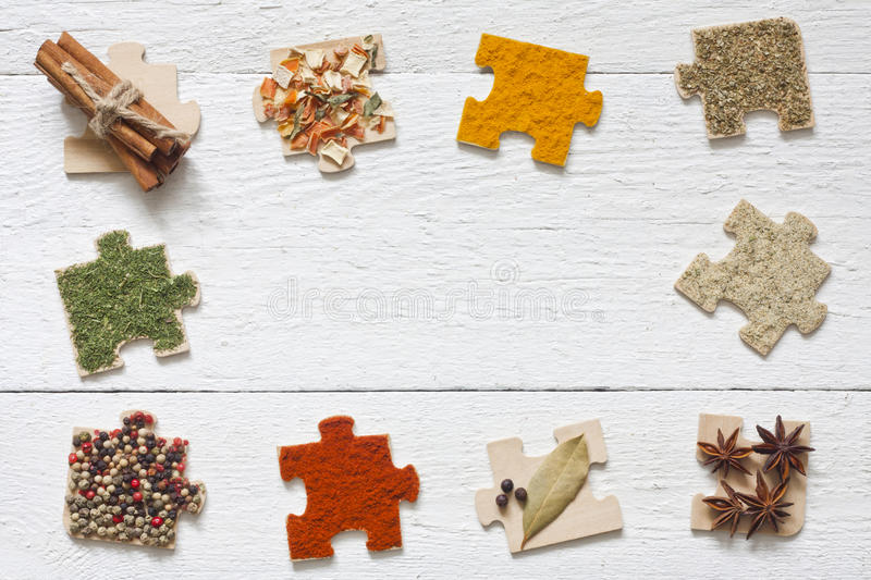 Food ingredients spices and puzzle diet concept royalty free stock photos
