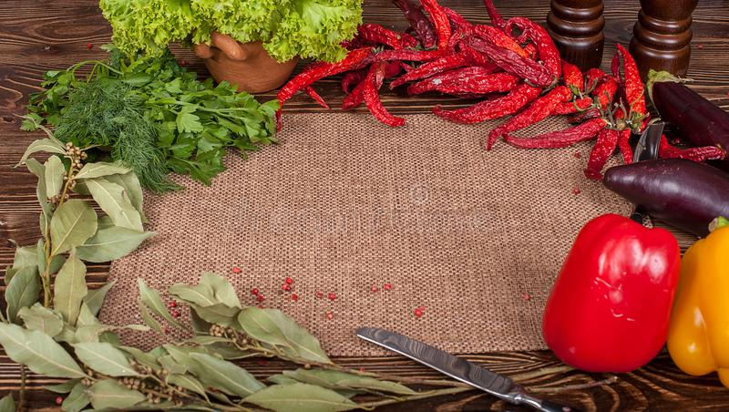 Food ingredients on wooden background royalty free stock photos