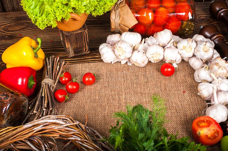 Food ingredients on wooden background royalty free stock photo