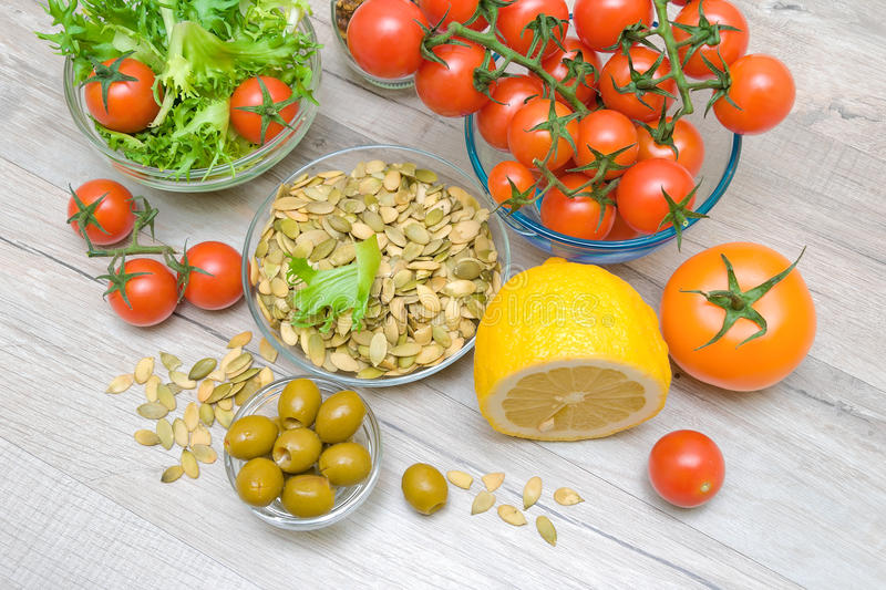 Food ingredients on a wooden table. horizontal photo. Food ingredients in a wooden table. top view - horizontal photo stock images