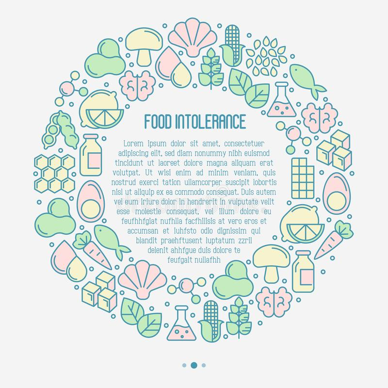 Food intolerance concept in circle. With thin line icons of common allergens gluten, lactose, soy, corn and more, sugar and trans fat, vegetarian and organic vector illustration