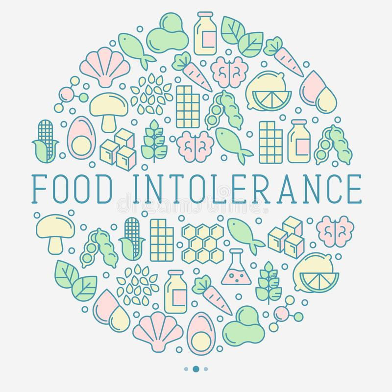 Food intolerance concept in circle. With thin line icons of common allergens, sugar and trans fat, vegetarian and organic symbols. Vector illustration vector illustration