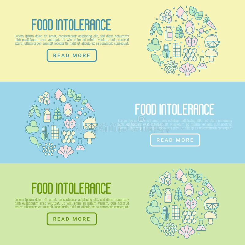 Food intolerance concept with thin line icons. Of common allergens gluten, lactose, soy, corn and more, sugar and trans fat, vegetarian and organic symbols stock illustration