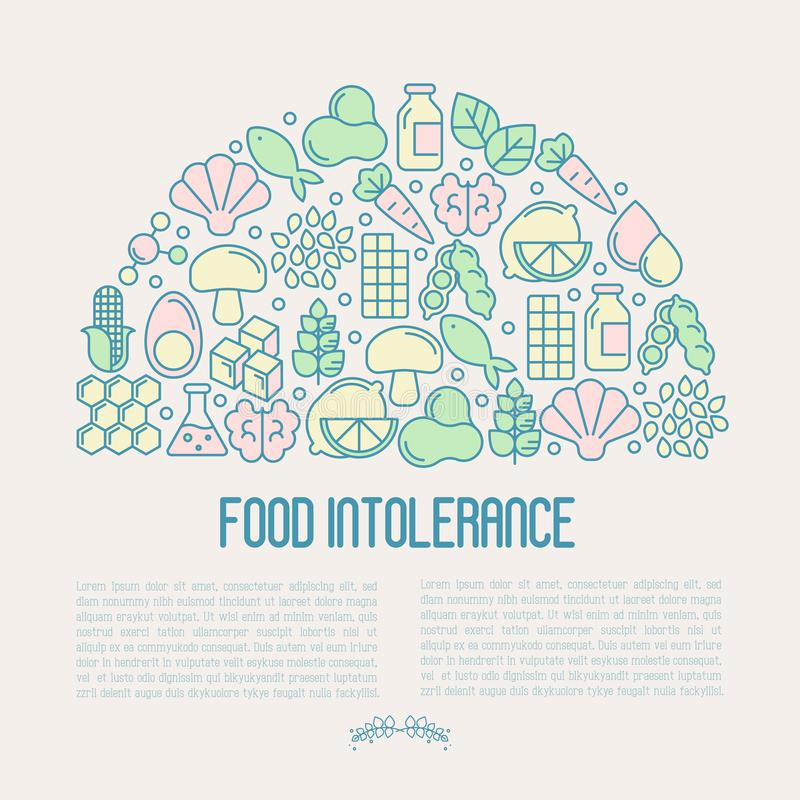 Food intolerance concept with thin line icons. Of common allergens gluten, lactose, soy, corn and more, sugar and trans fat, vegetarian and organic symbols vector illustration
