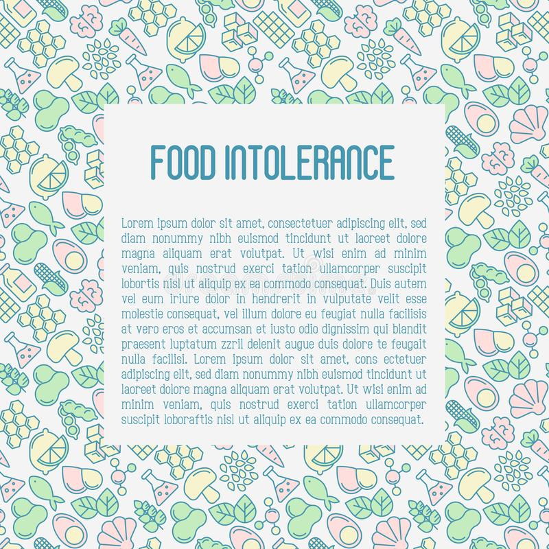 Food intolerance concept with thin line icons. Of common allergens gluten, lactose, soy, corn and more, sugar and trans fat, vegetarian and organic symbols royalty free illustration