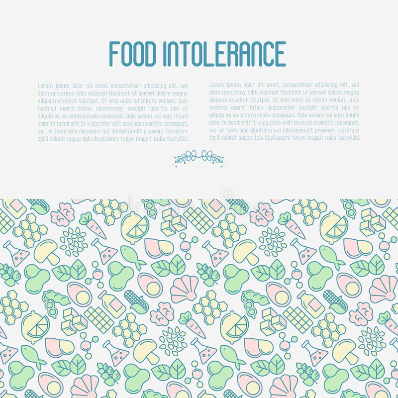 Food intolerance concept with thin line icons. Of common allergens, sugar and trans fat, vegetarian and organic symbols. Vector illustration vector illustration