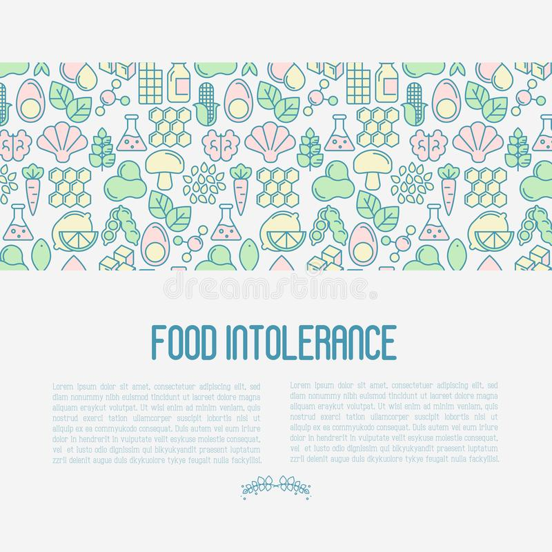 Food intolerance concept with thin line icons. Of common allergens, sugar and trans fat, vegetarian and organic symbols. Vector illustration stock illustration