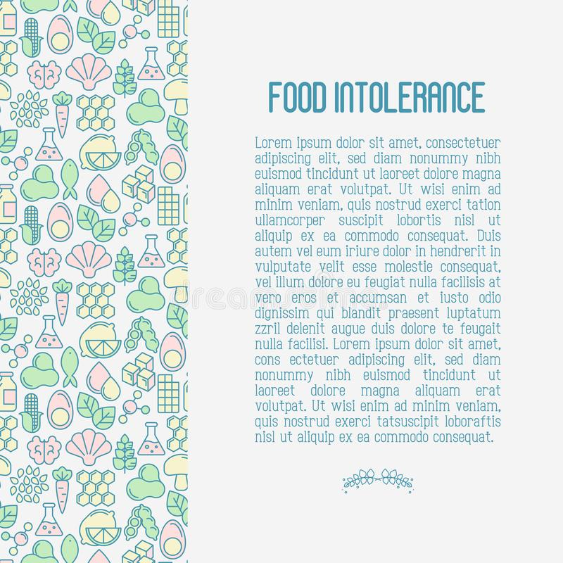 Food intolerance concept with thin line icons. Of common allergens, sugar and trans fat, vegetarian and organic symbols. Vector illustration royalty free illustration