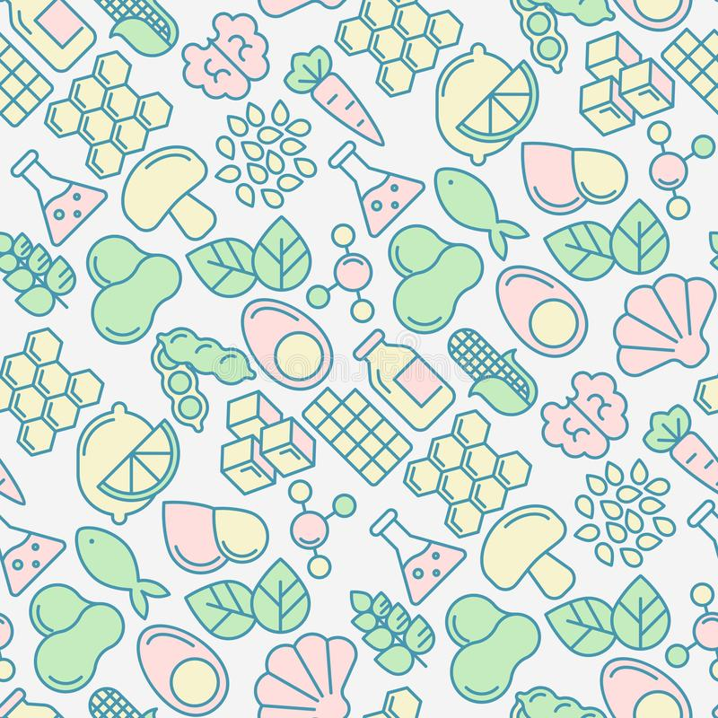 Food intolerance seamless pattern. With thin line icons of common allergens, sugar and trans fat, vegetarian and organic symbols. Vector illustration for royalty free illustration