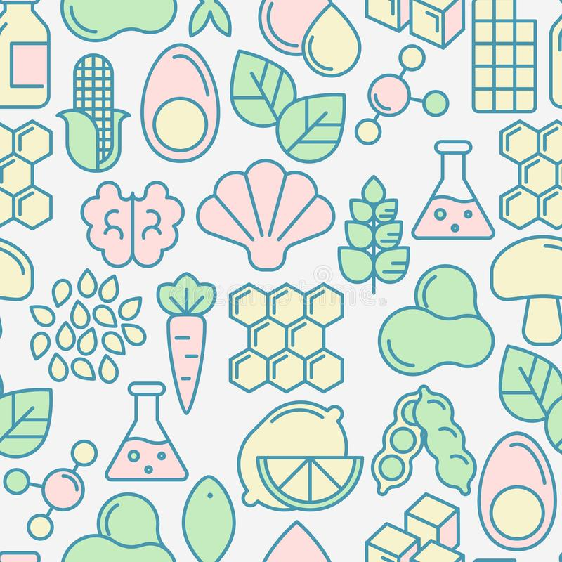 Food intolerance seamless pattern. With thin line icons of common allergens, sugar and trans fat, vegetarian and organic symbols. Vector illustration vector illustration