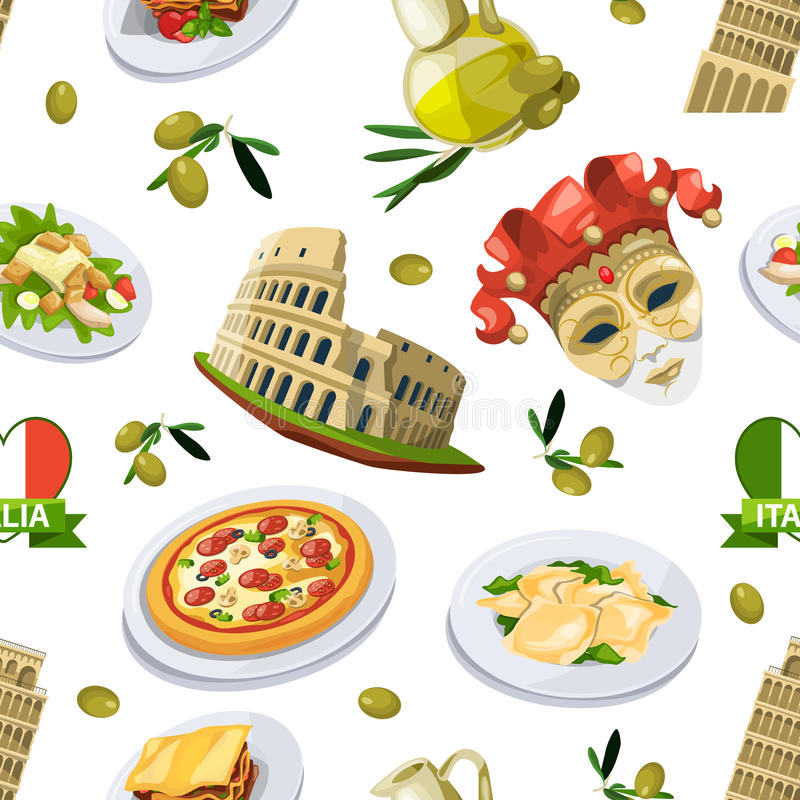 Food of italy cuisine. Illustration of different national elements. Vector seamless pattern royalty free illustration
