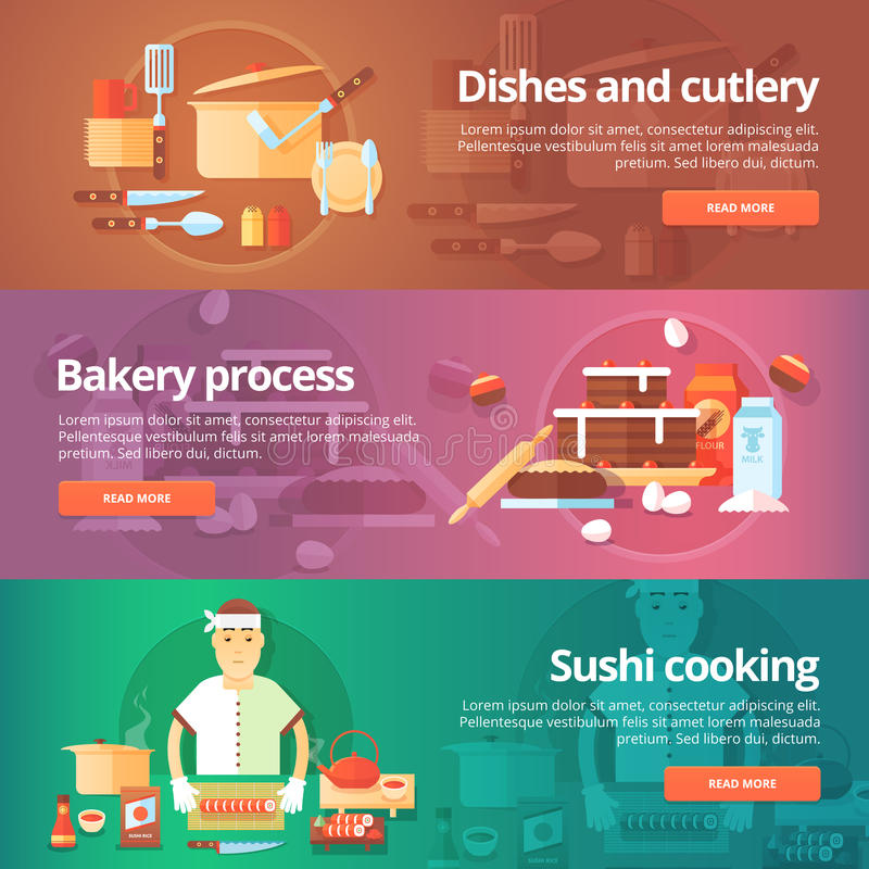 Food and kitchen banners set. Flat illustrations on the theme of dishes and cutlery, bakery process, sushi cooking. vector illustration
