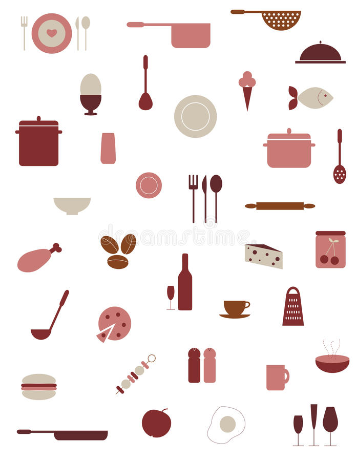 Food And Kitchen Icons royalty free illustration
