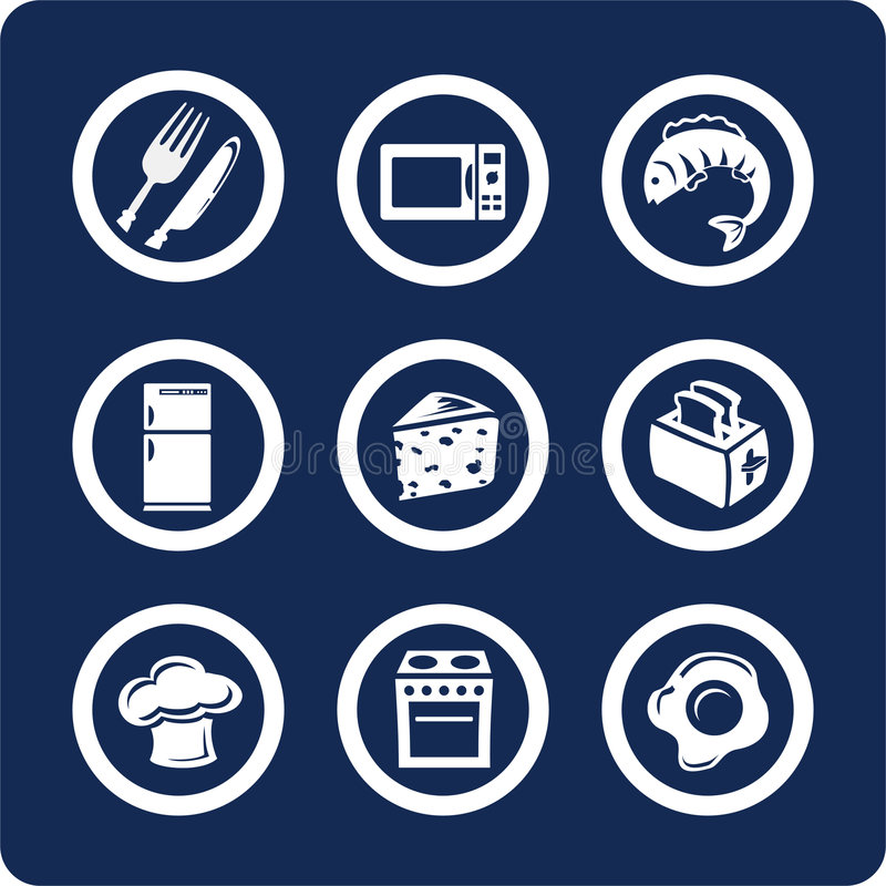 Food and Kitchen icons (set 9, part 2) stock images