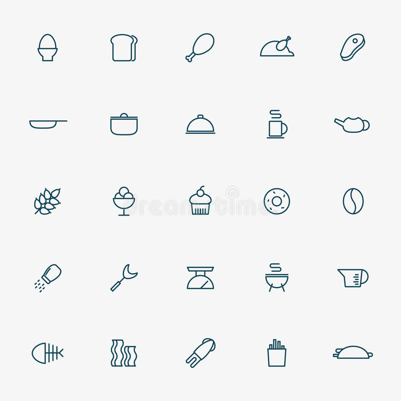 25 food and kitchen line icons vector illustration