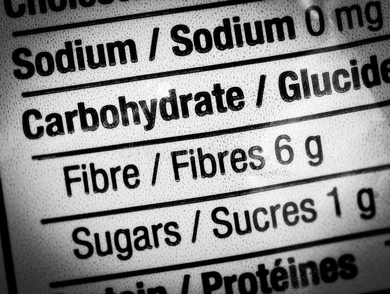 Food label. Closeup of food label showing high fiber content stock photos