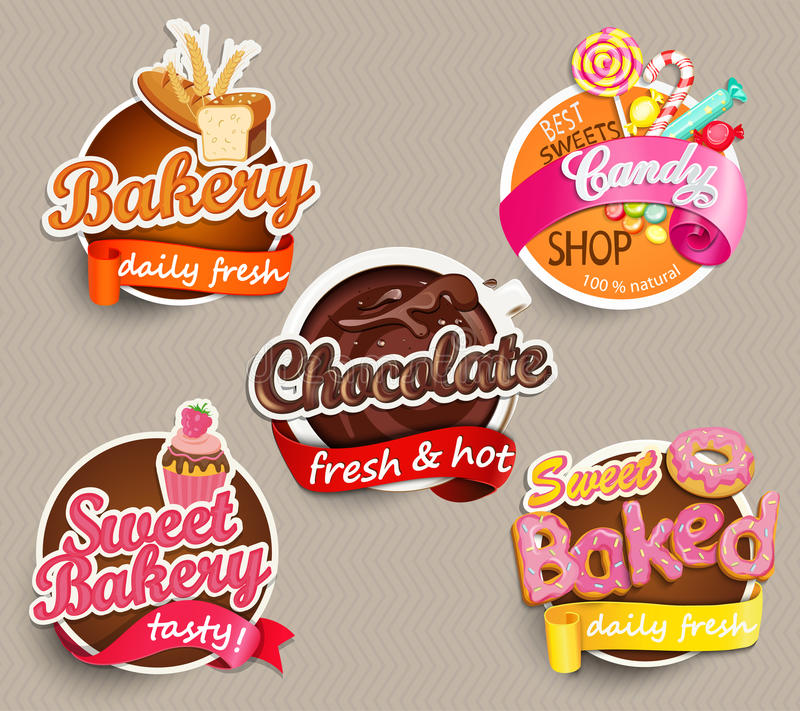 Download food label or sticker design template stock vector illustration of logo calligraphy