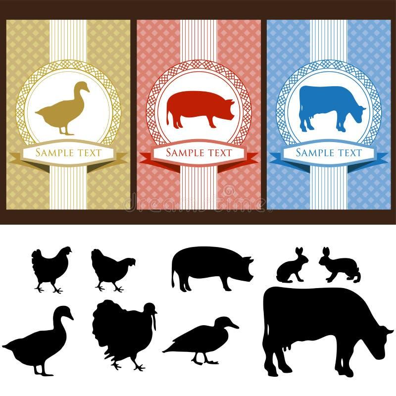 Food labels vector illustration