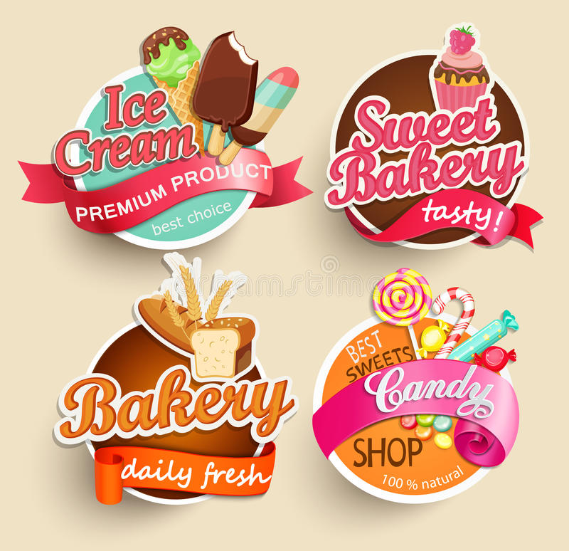 Food Labels and Stickers. royalty free illustration