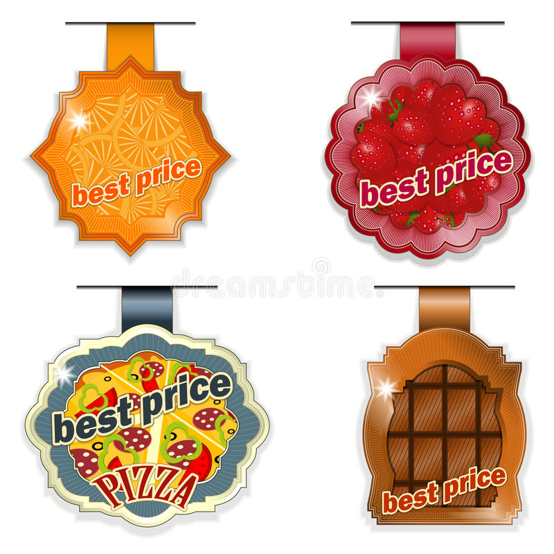 Food lables best price on white background royalty free illustration