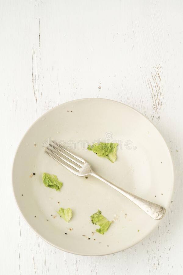 Free Food Leftovers On Dirty Plate After Finished Salad Stock Image - 182850771