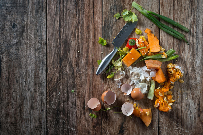 Food leftovers. Organic leftovers, waste from vegetable ready for recycling and to compost. Collecting food leftovers for composting. Environmentally responsible royalty free stock photos
