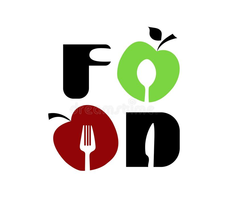 Food logo. Created from apples and kitchen appliances. Vector illustration stock illustration