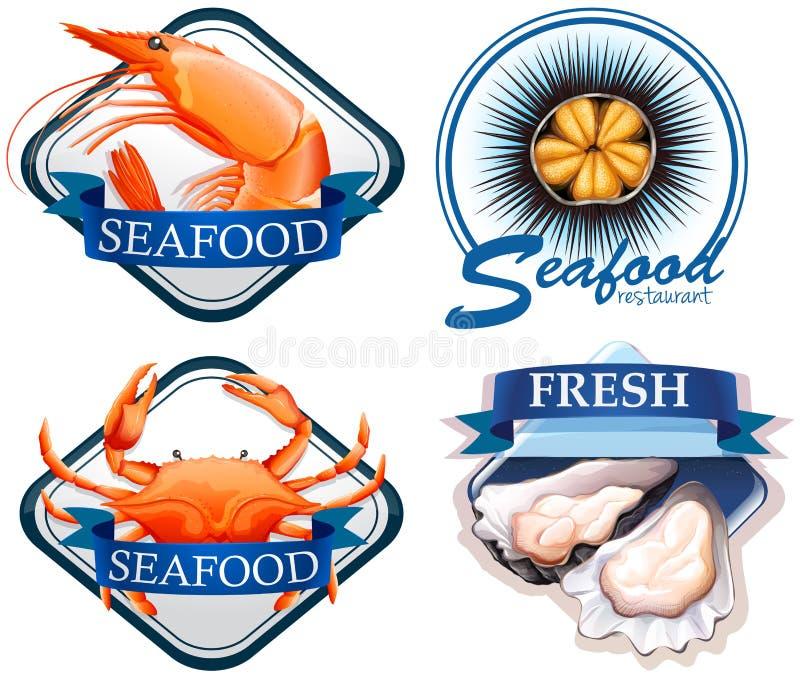 Food logo with fresh seafood royalty free illustration