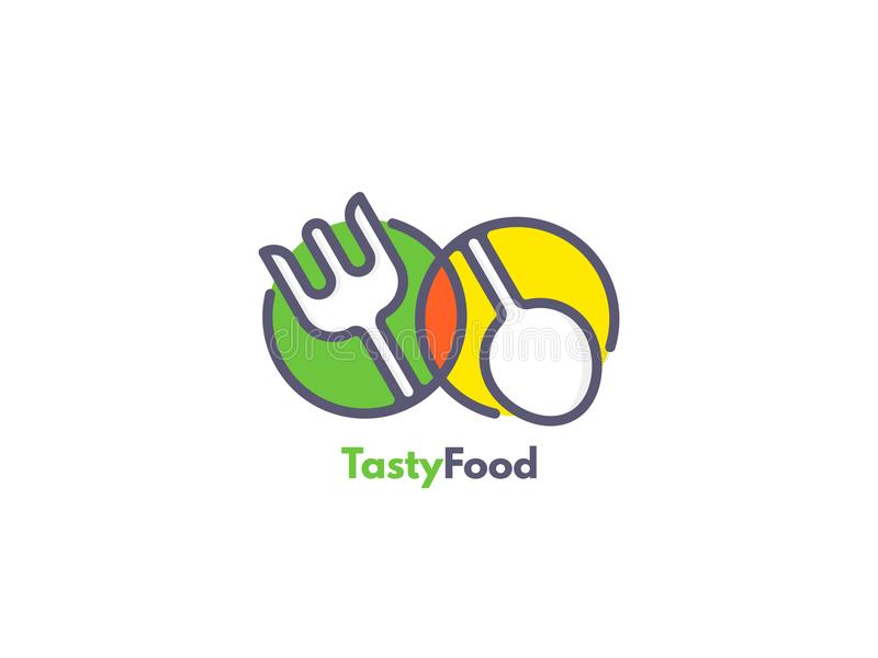 Food logo like icon. Fork and Spoon inside circles. Catering concept. Flat line vector illustration royalty free illustration