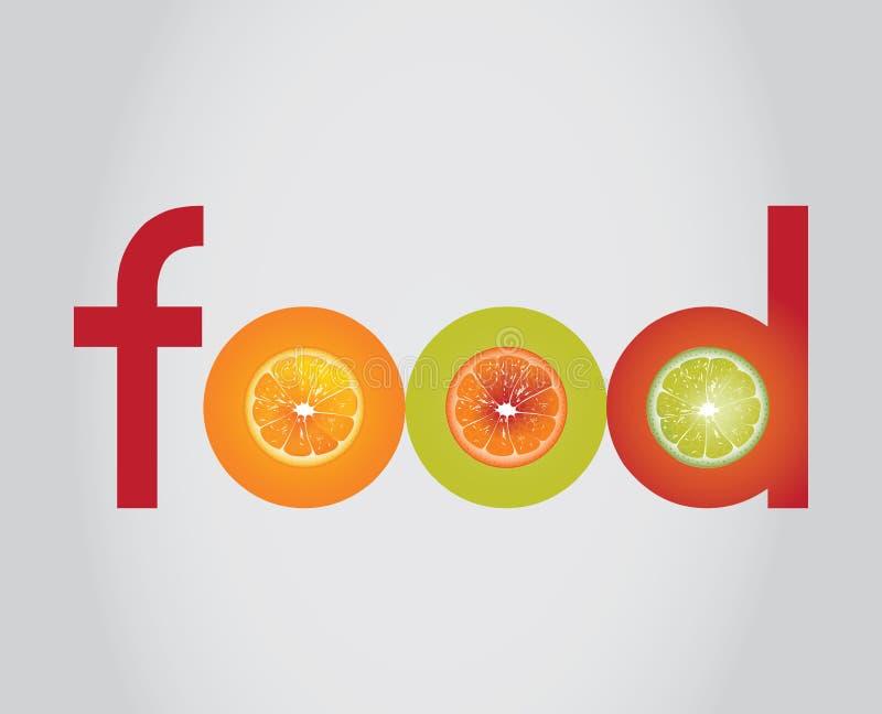 Food logo. With realistic lemons and orange stock illustration