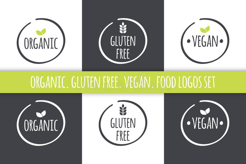 Food logos set. Organic Gluten Free Vegan labels. Vector grey white symbols with green leaves. Food logos set. Organic Gluten Free Vegan labels. Vector symbols vector illustration