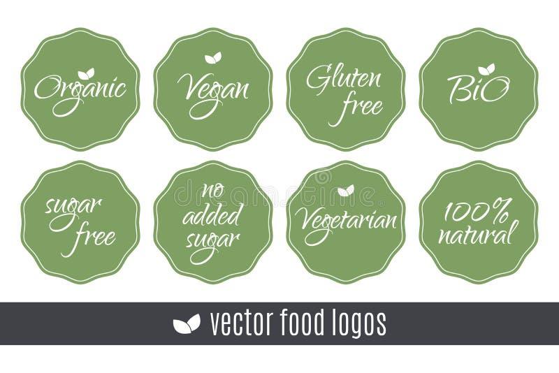 Food logos set. Organic Vegan Sugar Gluten free Bio Vegetarian 100 Natural labels. Vector green stickers isolated on white backgro. Food logos set. Organic Vegan royalty free illustration