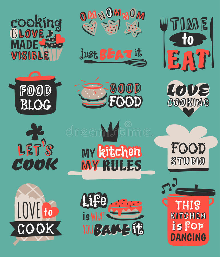 Food logotype restaurant vintage design cooking quote text phrases badge label icon and hand drawn stamp retro template stock illustration