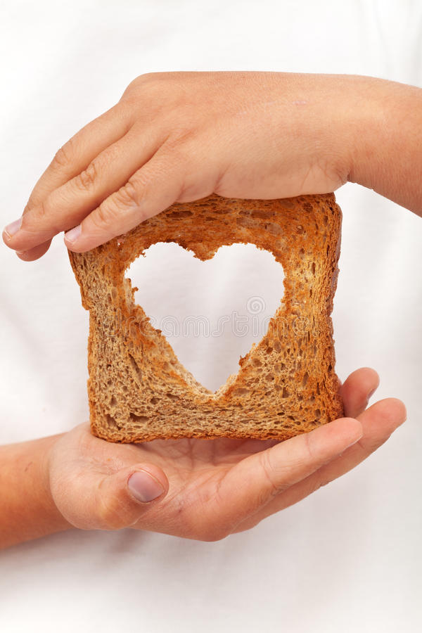Food with love. Helping the poor concept royalty free stock images