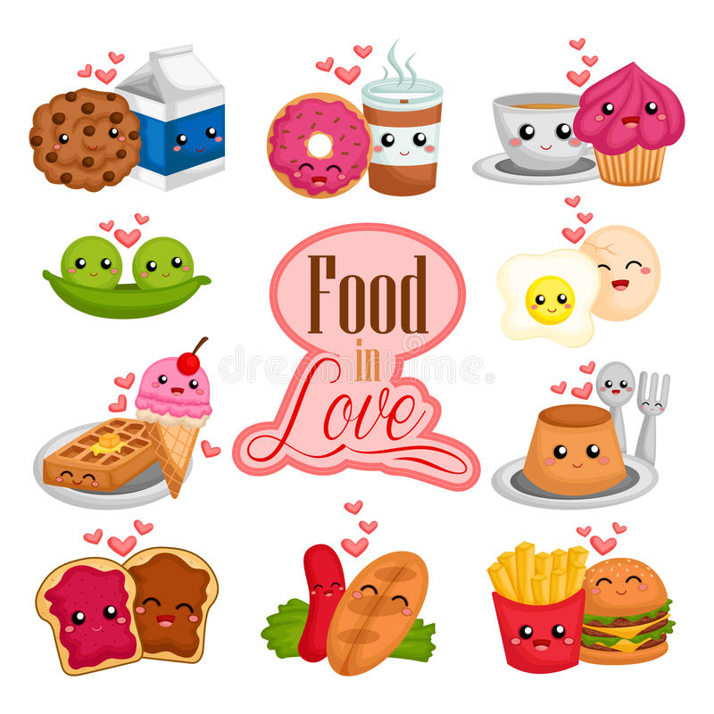 Food in Love royalty free illustration