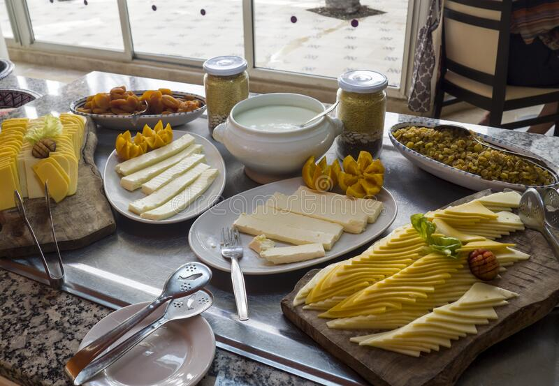 Food in luxury hotel restaurant. In Tunisia royalty free stock image