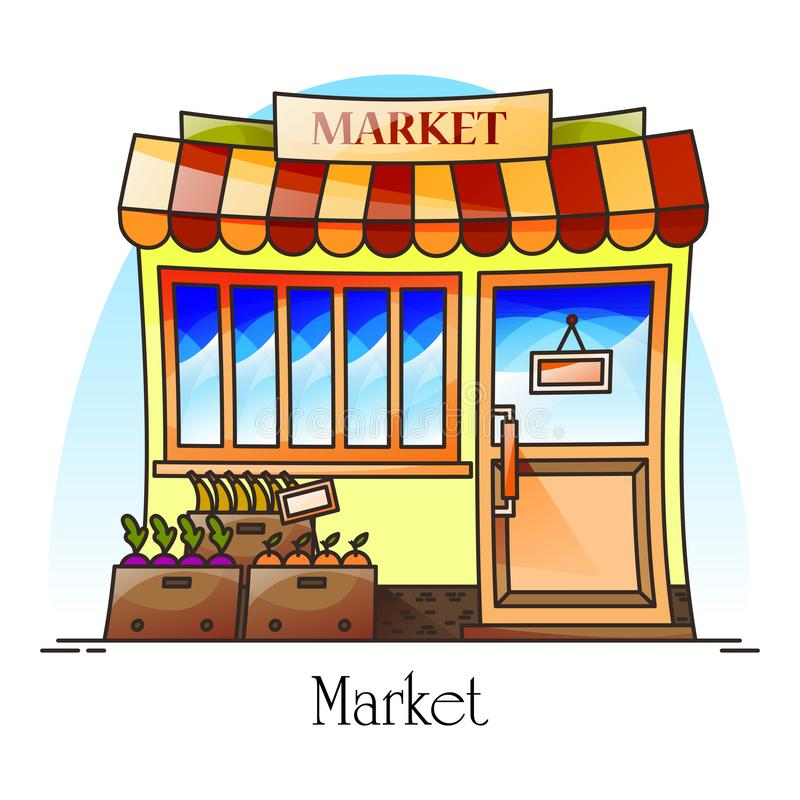 Food market or bazaar with grocery, food store. Food market or bazaar with grocery like banana, orange. Counter or stall at facade for retail. Exterior view on vector illustration