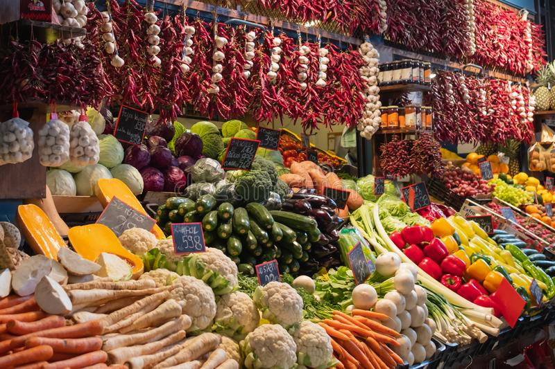 Food Market in Budapest, Hungary. stock photo