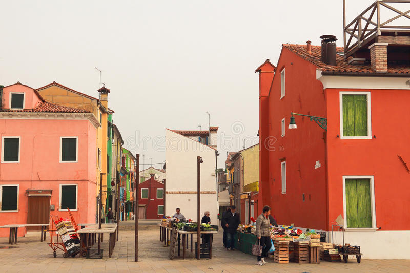 Food market of Burano in Venice royalty free stock image
