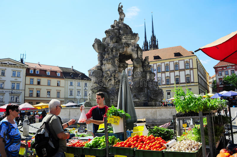 Food market. Czech Republic. BRNO, CZECH REPUBLIC - AUGUST 29, 2013: Locals buying vegetables at street food Market in Brno . Brno is the second largest city in stock photography