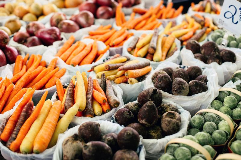 Food market in Montreal, Canada stock photo