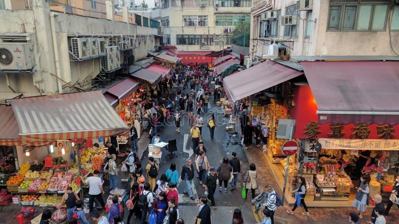 Food market near Causeway Bay of HongKong royalty free stock photography