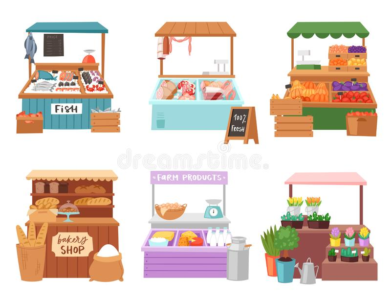 Food market vector salesman seller character selling in bookshop butcher or baker in stall illustration set of people. Sale vegetables in grocery or fishmongers vector illustration