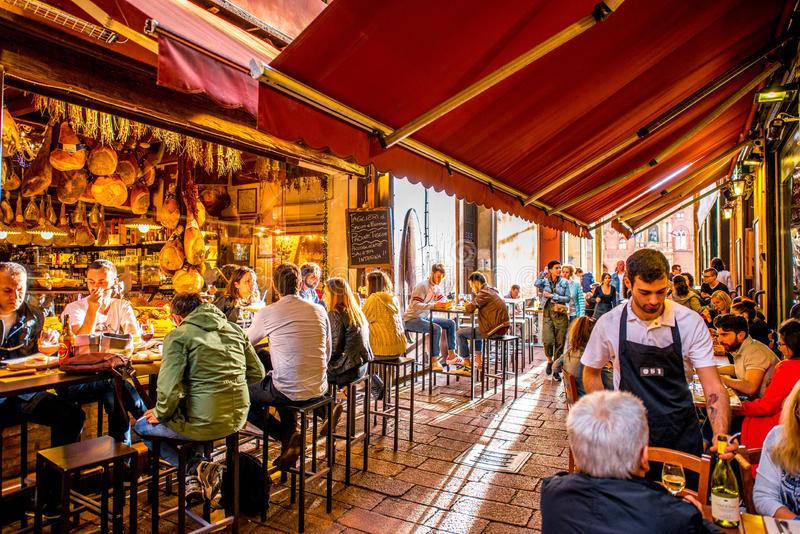 Italian Restaurant Near Me: Food Markets In Bologna Editorial Stock Image. Image Of